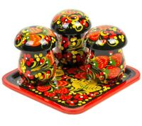 Mushroom Shaped SPICE JARS SHAKERS SET Khokhloma Strawberry Russian Pattern