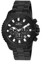 Invicta Men's Pro Diver Quartz Chrono 200m Black Stainless Steel Watch 24005