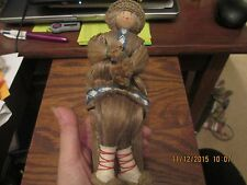 Sweet Vintage russian Folk art Hemp Doll on tree stump