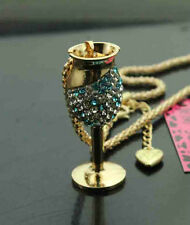 D719L   Betsey Johnson Crystal Enamel Goblet Lipstick Pendant Sweater Necklaces