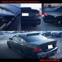 Painted Black Trunk Lip Spoiler R For Honda Civic ES Sedan 01-05 Gen 7