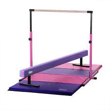 Kids Home Gym - Pink Kip Bar, Purple Balance Beam, Pink/Purple Gymnastics Mat