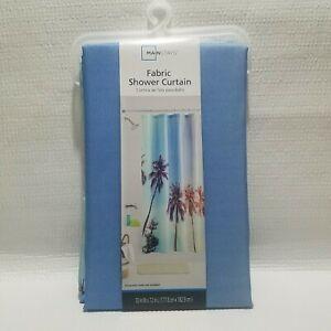 Mainstays Fabric Shower Curtain Ocean Decor Tropical Palm Trees Easy Care
