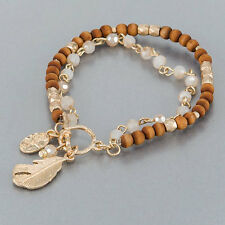 Brown Beaded Gold Finish Feather Charm Bohemian Style Statement Bangle Bracelet
