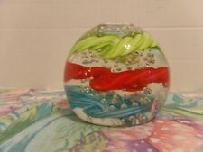Clear Glass Paperweight~Green / Red / Blue Ribbon