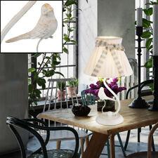 Lampe de table chambre lecture lumière textile parapluie oiseau or interrupteur