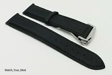20mm Fifty Fathons style Black nylon sailcloth watch strap Three fold clasp