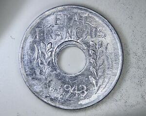 FRENCH INDOCHINA: 1943 1 Cent ——————> VICHY COINAGE FOR JAPAN OCCUPIED INDOCHINA