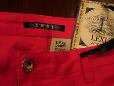 NWT Lexi Jeans Brand Neon Pink Hot Pants Sz 14. Diamond Button Club Fashion Sexy