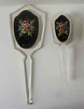Lucite Floral Inset Mirror & Brush Antique Vanity Set