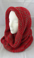 Red knit infinity scarf hood snood tube two tone acrylic tubular