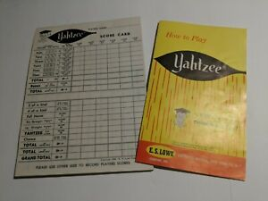 Vintage 1961 YAHTZEE Instructions & Partial Scorepad! Old Professor Logo!