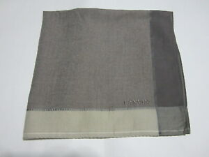 """USED LANVIN BROWN  PAISLEY PATTERN COTTON 18"""" HANDKERCHIEF POCKET SQUARE FOR MEN"""