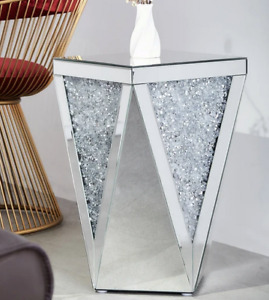 "The ""Lily"" Mirrored End Table With Crystal Inlay Mireo Fine Furniture 10003 20"""