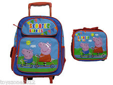 "B15PI26762 Peppa Pig Large Rolling Backpack 16"" x 12"" & Lunch Bag 8"" x 10"""