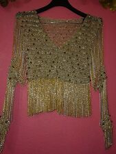 LORIS AZZARO Gorgeous Gold/Silver Sequin knit Chain Fringe Cardigan VTG 1970 - S