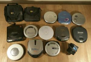 Retro Sony / Panasonic Discman 11x CD players job lot, bundle, D-11, working