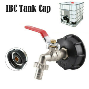 """IBC Tank Adapter S60X6 To Brass Drain Tap With 1/2"""" Hose Fitting Oil Fuel Water"""