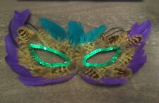 Mardi Gras Feather Face Mask Halloween Disguise Purple Teal Sequin New #383