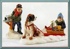 NEW Dept 56 Snow Village MUSH! St Bernard Dog Sled Boy Mailbox 2PC Accessory Set