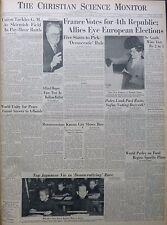 10-1945 October 22 FRANCE VOTES FOR 4th REPUBLIC ALLIE EYE Birthday Newspaper