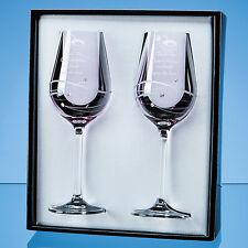 Pair 2 Personalised Engraved Diamante Crystal Pink Wine Glasses Wedding Gift