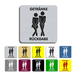 GETRÄNKE RÜCKGABE - Graviertes Toilettenschild,WC,Kloschild,Klo,00,80x80mm-Neu!