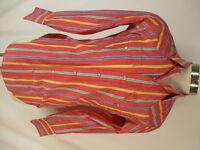 H Bar C California Ranchwear Vtg Red Stripe Western Pearl Snap Shirt 15.5-33