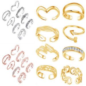 8Pcs Elegant Women Adjustable Sterling Toe Ring 3 Color Foot Beach Jewelry