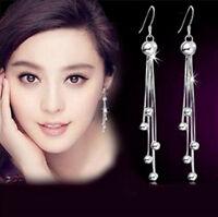 1 Pair Balls Charms Dangle Silver Plated Chain Long Tassel Eardrop Earrings