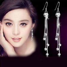 1 Pair Lady Long Tassel Silver Plated Chain Eardrop Balls Charms Dangle Earrings