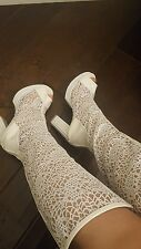 GLADIATOR White summer boots  High heel sandals open toe shoes size US 7