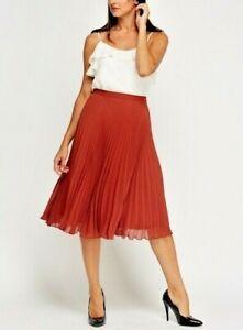 Women's Brick Pleated Skirt  Ladies Work Wear Informal Skirt- Size 12