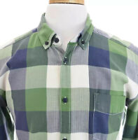 LOGG H&M Label of Graded Goods Mens Fitted Button Down Shirt Check Blue Sz L