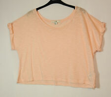PALE PINK LADIES CASUAL TOP CROPPED BLOUSE SIZE L XXI STRETCH