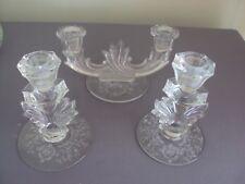 Vintage Etched Glass Taper Candle Holder Set Candles Holders