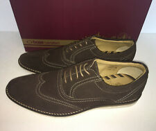 New Base London Mens Leather Brown Brogues Lace Up Casual Formal Shoes Size 7