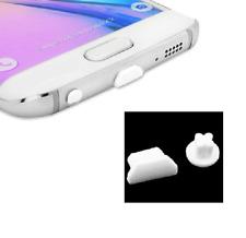 5x ANTI-DUST PLUG SET MICRO-USB + JACK AUDIO 3.5MM PORT UNIVERSAL WHITE SILICONE