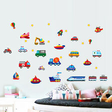 Removable Cartoon Car Train Airplane Wall Sticker for Nursery Kids Room Decal C