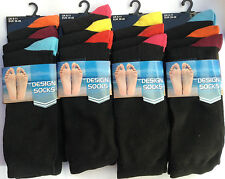 3 Pairs Men's boys Plain Black Coloured Heel Design Cotton Casual Socks UK 6-11