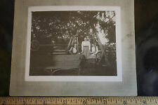 1890? Cabinet Card Photograph With 3 Women on yard swing  JSH