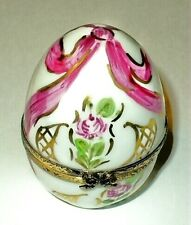 LIMOGES BOX ~ FLORAL EGG ~ FLOWERS ~ PINK RIBBONS & ROSES ~ PEINT MAIN