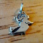 Sterling Silver 18x15mm Halloween Witch on Broom with Moon Charm