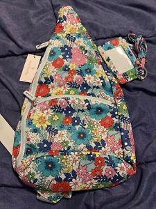 VERA BRADLEY Essential Sling Backpack+zip ID & Lanyard -Far Out Floral- NWT