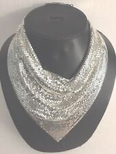 Vintage Whiting & Davis Silver Mesh Chain Bib Necklace Great Condition