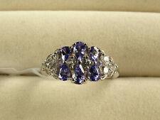 AA Tanzanite Pear & Natural Zircon Cluster Rhodium/925 Silver Ring Size P/7.5