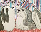 Havanese Jesters ACEO Dog Art Print Signed by Artist KSams 2.5 x 3.5