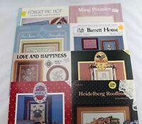 8 Cross Stitch Pattern Leaflets - Samplers, Flowers, Americana, Heidelberg