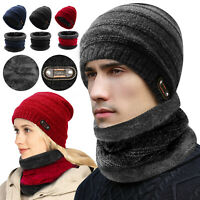 Winter Beanie Hat Scarf Set Fleece Warm Balaclava Snow Skull Cap For Men Women