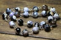 Agate Purple Black White 10mm Ball Gemstone Necklace .925 Sterling Silver 18""